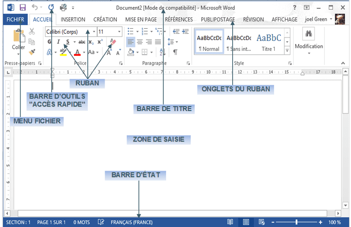 tutoriel word 2013 utilisation a la fen tre word